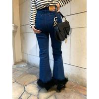 épine bell jeans blue×black feather fur