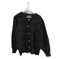 monotone  flower design knit cardigan