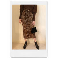 leopard knit long skirt