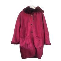 rose pink mouton fur coat
