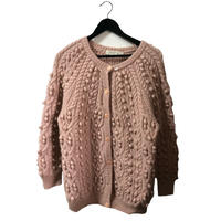 pon pon cable knit cardigan baby pink