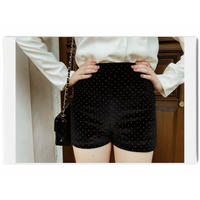 gold studs velours short pants