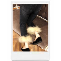 real fur denim beige