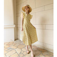 back lace up flower onepiece lemon
