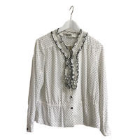 dot flile blouse white