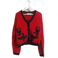 red flower bijou design cardigan