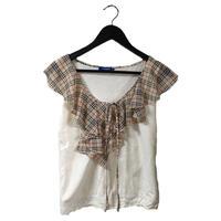 Burberry check frill collar design tops