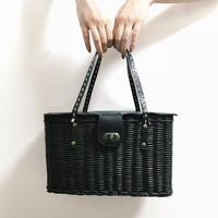 square design bucket bag black