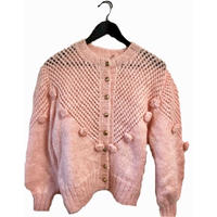 pink flower gold botton knit cardigan