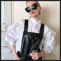 lace arm volume blouse