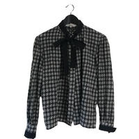 Dior check design ribbon blouse