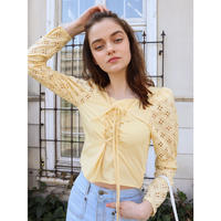 arm lace corset blouse yellow