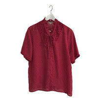 flile ribbon design dot blouse red
