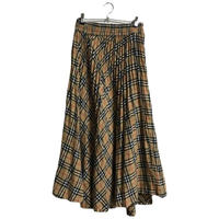 check pleats long skirt