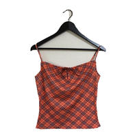 Burberry check design ribbon camisole red