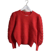 arm see-through mohair knit red