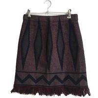 fringe design skirt red