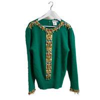 fringe bijou design knit green