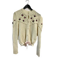 pon pon flower cable knit cardigan