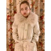 fur collar quilting down coat ivory