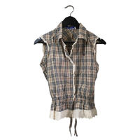 Burberry check design frill blouse