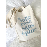 Nulle rose sans épine embroidery tote bag  ivory×ice blue