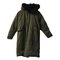 fur hood long down coat khaki