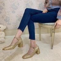 square toe pumps glitter gold