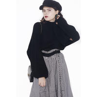 slit arm volume knit black