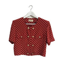 pearl dot blouse red
