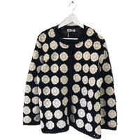 monotone patchwork design knit cardigan