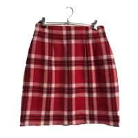 check design mini skirt red