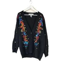 colorful bijou knit cardigan black