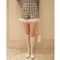 check tweed fur short pants gray