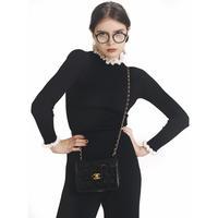 frill design knit black