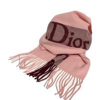 Dior logo cashmere wool pink muffler