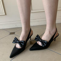 pointed ribbon mule black