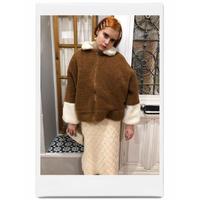 bi-color boa coat brown