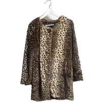 collarles leopard fur coat