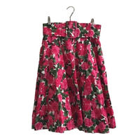 pink flower belt flare skirt