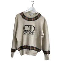 Dior check logo knit beige