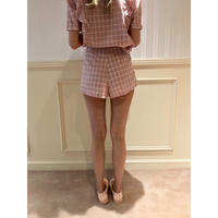 check high-waist short pants pink