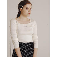 épine rhinestone logo square neck knit white