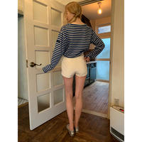 side slit velours short pants ivory