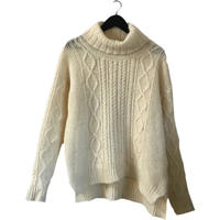 highneck design cable knit
