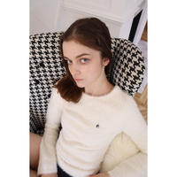 back open é embroidery mohair knit ivory