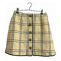 tweed check design skirt cream yellow