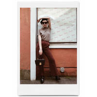 double botton flare pants red brown