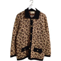 leopard gold botton knit cardigan