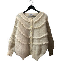 frill mohair knit cardigan ivory